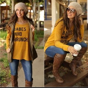 💛Mustard BABES WHO BRUNCH Sweater Knit Tunic Top